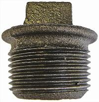 Beaded Hollow Plug   Malleable Iron Fittings  Black