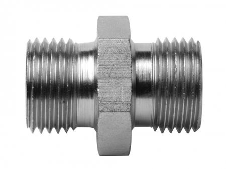 BSPP Male x BSPP Male 60 deg Cone Both Ends   Hydraulic Adaptors  Carbon Steel - Zinc Silver Finish