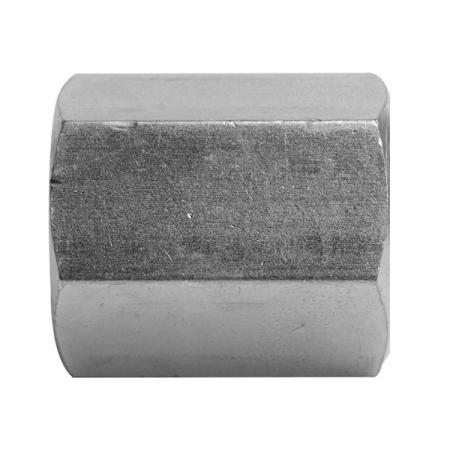 BSPP Fixed Female Barrel   Hydraulic Adaptors  Carbon Steel - Zinc Silver Finish