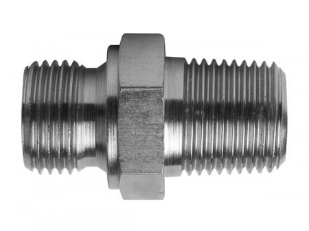 BSPP Male 60 deg Cone x BSPT Male   Hydraulic Adaptors  Carbon Steel - Zinc Silver Finish