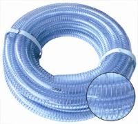 """Wire Re-enforced Suction And Delivery Hose - 10m Coils   Clear Pvc Reinforced With Blue Tensile Steel Wire Spiral  """"Suitable For The Suction And Discharge Of Water, Slurry,"""""""
