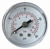 "Pressure Gauge - 1/4"" BSP - Centre Back   1/4"" BSPT x 50mm Dial Centre Back Connection  Steel Case"
