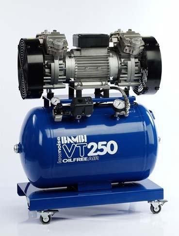 Bambi VT250 Air Compressor - Ultra Quiet - Oil-Free Professional (59 Litres, 2.5 HP)
