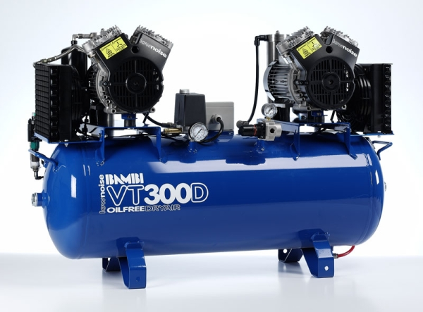 Bambi VT300D Air Compressor - Ultra Quiet - Oil-Free Professional (100 Litres, 3 HP)