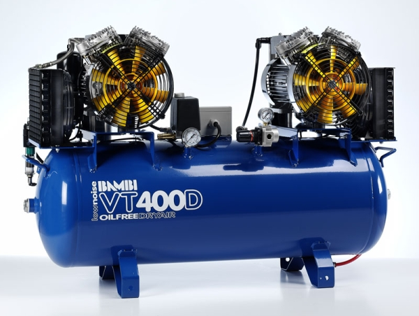 Bambi VT400D Air Compressor - Ultra Quiet - Oil-Free Professional (100 Litres, 4 HP)