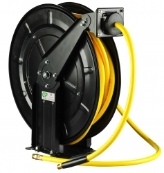 20 Mtr Open Frame Retractable Metal Air Hose Reel - Superflex Yellow Hose