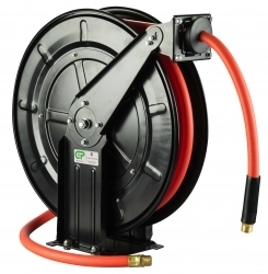 15 Mtr Open Frame Retractable Metal Air/Oil Hose Reel - Rubber Hose