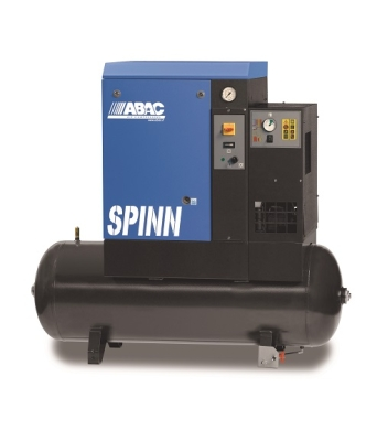 ABAC SPINN.E Rotary Screw Air Compressor - 5.5Kw 7.5Hp 10Bar 21.2Cfm - Tank Mounted (200 Litre) + Dryer