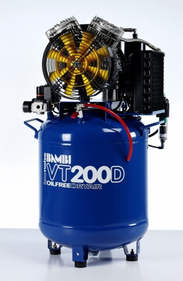 Bambi VT200D Air Compressor - Ultra Quiet - Oil-Free Professional (50 Litres, 2 HP)
