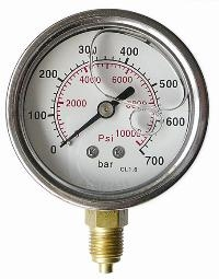 "Glycerine Gauges - Stainless Steel Case   1/4"" BSPP x 63mm Dial Bottom Entry Connection"