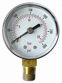 "Pressure Gauge   1/8"" BSPT x 50mm Dial Bottom Entry Connection  Steel Case"