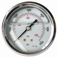 "Glycerine Gauges - Stainless Steel Case   1/4"" BSPP x 63mm Dial Centre Back Connection"