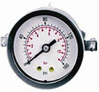 Panel Mounting Pressure Gauge  - Centre Back Connection  - 50mm Dial   Panel Mounting Gauge - Centre Back Connection - 50mm Dial - Steel Case - Brass Internals