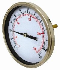 Cewal® 100mm HVAC Temperature Gauge   100mm Diameter  Black Steel Case, S/Steel Bezel